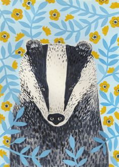 British Badger Art Print by Stephanie Cole DESIGN