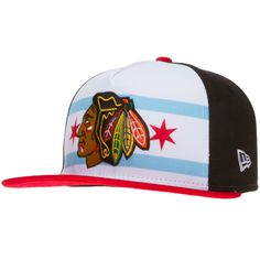 Chicago Blackhawks Red, White, and Black Chicago Flag Snapback by New Era #Chicago #Blackhawks #ChicagoBlackhawks