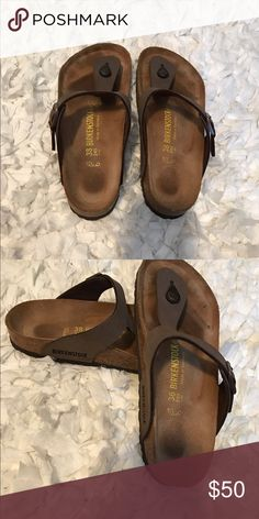 Birkenstock sandals/ brown size 8 Even though only worn a few times, of course they have that Birkenstock footprint 😬😬.  In wonderful condition. I'm just not a Birkenstock girl. Birkenstock Shoes Sandals
