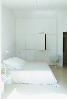 Choose built-ins. Too many pieces of furniture in a small room will make it feel cramped.