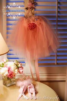 Ballerina Tutu in light pink with matching shoes. Great first birthday outfit for girls.