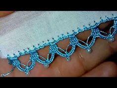 İncili tığ oyası yapılışı - YouTube Crochet Lace Edging, Crochet Borders, Filet Crochet, Crochet Stitches, Baby Knitting Patterns, Crochet Patterns, Viking Tattoo Design, Crochet Tablecloth, Hand Embroidery