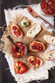 Tomato Green Apple Jam + Simple refrigerator jam recipe: (Pectin Free) 1 1/3 cup Strawberries 2/3 cup Rhubarb 2 Tbsp raw Honey 2 Tbsp Chia Seeds Process all ingredients in blender. Refrigerate overnight. Chia seeds will gel, thickening the fruit puree.