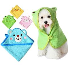 EverTrust(TM) Soft Pet Dog Cute Cartoon Pajamas Dog Bathrobe Multifunction Absorbent Pet Bath Towel Animal Puppy Cat Warm Blanket Pet Supplies EverTrust