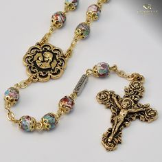 Mary's Motherly Love Collection gold plated Rosary - Ghirelli Rosaries - Rosary Beads For Sale