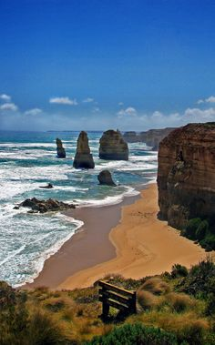 The Twelve Apostles, Victoria, Australia off the coast of Port Campbell National Park get there via The Great Ocean Road Places Around The World, Oh The Places You'll Go, Travel Around The World, Around The Worlds, Melbourne Australia, Australia Travel, Australian Continent, I Love The Beach, Where To Go