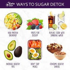 Here are some healthy KETO ways to Sugar Detox! weight loss ideas eating for weight loss cleanses to lose weight weight loss easy for weight loss exercises for weight loss weight loss plan weight loss dinner weight loss workout diets for weightloss Ketogenic Diet Meal Plan, Keto Meal Plan, Diet Meal Plans, Diet Meals, Meal Prep, High Protein Fruit, Sugar Detox Diet, Breakfast Dessert, Detox Breakfast