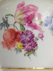 Meissen Porcelain Two Handled Vase Handpainted Flowers | eBay