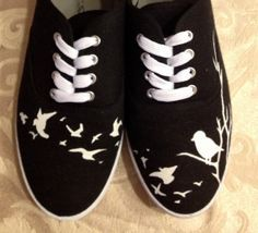 Hand Painted Vans Sneakers Birds Perched on a Tree and in Flight Painted Canvas Shoes, Painted Sneakers, Hand Painted Shoes, Painted Vans, Cheap Toms Shoes, Toms Shoes Outlet, Vans Sneakers, Vans Shoes, Keds