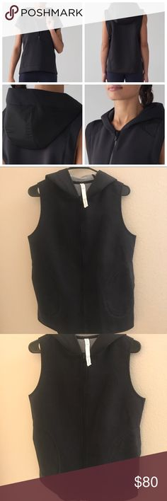 Lululemon Re-form vest We designed this relaxed fit vest with water resistant panels on the hood to help keep you dry. Fabric is sweat-wicking and four-way stretch. In great preloved condition. lululemon athletica Jackets & Coats Vests