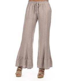 Look at this #zulilyfind! Taupe Drawstring Linen Flare Pants #zulilyfinds