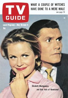 """50 years ago today, TV Guide: May 29, 1965 - Elizabeth Montgomery and Dick York of """"Bewitched"""""""