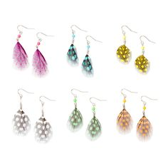 Colorful Polka Dot Feather Drop Earrings Set of 6