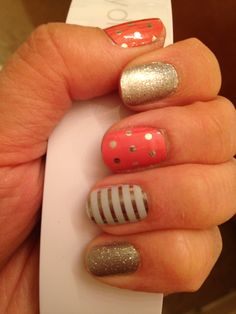 Jamberry Nail Wraps Diamond Dust Sparkle, Icy Rose Polka and Grey Silver Horizontal Stripe combo ideas #jamberry #jamicure  Jamssession.jamberrynails.net