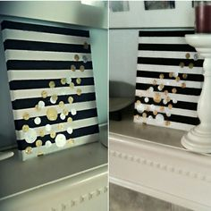 DIY canvas art. Black, white, silver, gold paint.