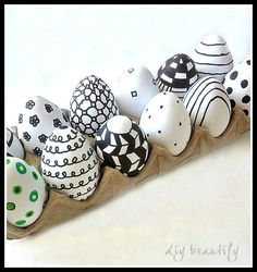 DIY beautify: Graphic Eggs in Painted Cabinet
