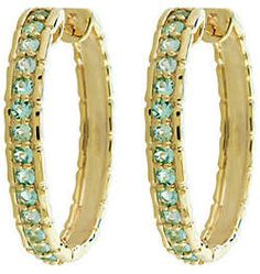 QVC 0.75 cttw Paraiba Tourmaline Hoop Earrings 14KGold #Paraiba #affiliate #cosmiclovegems #lithium #valentinesday