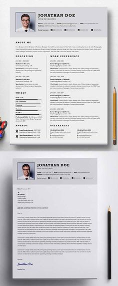 Creative cv template in MS Word Including matching cover letter - single page resume format download