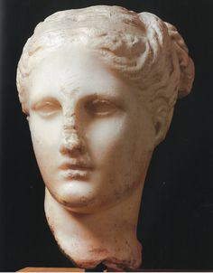 A marble head from Taranto in  the 1st century BCE, currently located in the National Archaeological museum.   Source: Cerchaia, 2002