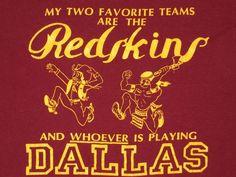 VTG 1980's WASHINGTON REDSKINS I HATE DALLAS COWBOYS T-SHIRT XL SCREEN STARS in Unisex & T-Shirts | eBay