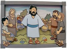 Bible craft 3D Picture of Jesus feeding the 5000