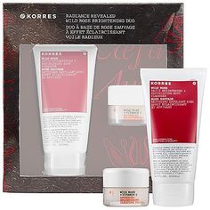 Korres Radiance Revealed Wild Rose Brightening Duo by Korres. $48.00. What it is: An incredible limited-edition collection that includes the bestselling Wild Rose and Vitamin C Advanced Brightening Sleeping Facial and new Wild Rose Daily Brightening and Refinishing Buff Cleanser for instantly brightened, smooth and moisturized skin.