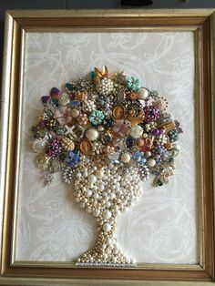 My Grandmas jewelry box ( full of costume and vintage pieces) made a beautiful bouquet for my aunt to remember her by..one of my favorites