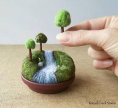 **Please note - this item is made to order and may take 2 to 3 weeks to be ready for shipping.** A miniature landscape with movable trees on sewing pins, so you can change the scene the way YOU want it to look....a playscape for grown-ups :) ****Not intended for children due to