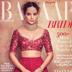 Sabyasachi Heritage Jewelry Kangana Ranaut @team_kangana_ranaut wearing a Sabyasachi Rani pink Matka lehenga from our Heritage Collection. She teams it up with Sabyasachi Bridal Jadau Collection in syndicate polki and spinel. Cover of Harper's Bazaar Bride September 2017 @bazaarbride.in @nupurmehta18 #Sabyasachi #TheWorldofSabyasachi #KanganaRanaut #HarpersBazaarBride #SabyasachiHeritageJewelry #JadauJewellery #GoldJewellery #DiamondJewellery