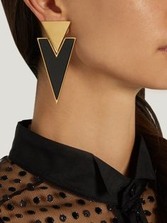 Saint Laurent Cocktail triangle-drop clip-on earrings