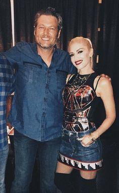 Gwen and Blake in OKC tonight. Blake Shelton Gwen Stefani, Blake Shelton And Gwen, Gwen And Blake, Gwen Stefani And Blake, Gwen Stefani Style, Miranda Blake, Cute Celebrity Couples, Famous Couples, New Fashion Trends