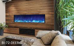 Amantii 72″ wide x 12″ deep Built-in Electric Fireplace (BI-72-DEEP) - Modern Blaze Black Fireplace, Gas Fireplace, Fireplace Ideas, Fireplace Refacing, Fireplace Stores, Built In Electric Fireplace, Electric Fireplaces, Fireplace Dimensions, Traditional Fireplace