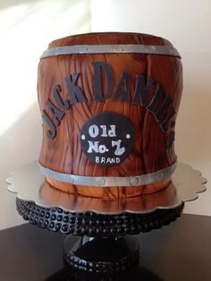 Love this for the grooms cake! Dad Cake, 50th Cake, Gorgeous Cakes, Amazing Cakes, Whiskey Barrel Cake, Super Cool Cakes, Jack Daniels Cake, Bottle Cake, Buttercream Fondant