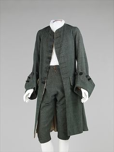 Suit  Date: 1755–65 Culture: British Medium: wool, silk Dimensions: Length at CB (a): 42 in. (106.7 cm) Length at CB (b): 29 1/2 in. (74.9 cm) Credit Line: Brooklyn Museum Costume Collection at The Metropolitan Museum of Art, Gift of the Brooklyn Museum, 2009; H. Randolph Lever Fund, 1968 Accession Number: 2009.300.916a, b