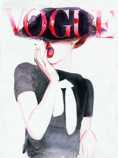 How posh. ;) Watercolor Fashion Illustration Print - Deutche Vogue Cover by Cate Parr