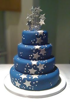 Blue Cake Silver Stars