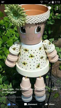 Sadie for Tammy Sadie für Tammy Flower Pot Art, Clay Flower Pots, Flower Pot Crafts, Clay Pots, Clay Pot Projects, Clay Pot Crafts, Diy Clay, Diy Crafts, Flower Pot People