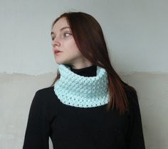 Infinity Mint Turquoise Crochet Scarf Cowl by KaOliaCreativeStudio