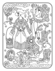 Marjorie Sarnats Fanciful Fashions Coloring For Everyone Cowgirl Couture