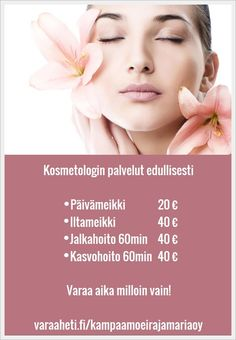Tervetuloa kosmetologi Anne Penttilän lempeään käsittelyyn!   http://www.varaaheti.fi/kampaamoeirajamariaoy