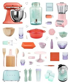 """""""Coral, Pink, Mint & Violet Kitchen Decor"""" by belenloperfido ❤ liked on Polyvore featuring interior, interiors, interior design, home, home decor, interior decorating, KitchenAid, DENY Designs, Smeg and Kate Spade"""