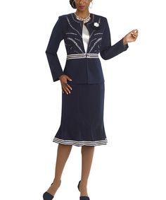 Loving this Navy & White Trumpet Skirt Set - Women on #zulily! #zulilyfinds