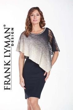 Frank Lyman Design. Stunning ombre cocktail dress in navy gold. Proudly Made in Canada.