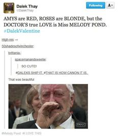 I don't ship it though>>>>> there's nothing to ship he married her. Melody pond = Rivet song
