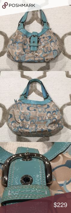 Coach Teal Logo Purse 100% Authentic or your money back. Excellent 10/10 Condition. Purchased 2-3 years ago. Closet sitter. Feel free to leave an offer or a comment! All offers are considered! Bundled items will be offered private discounts! 2+ items bought will be 15% off! Each product is wrapped, packed, and shipped on the same day, unless post office is closed. In that case, I will ship next avaliable day. Coach Bags Mini Bags
