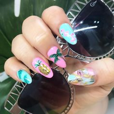 """#teamnotorious on Instagram: """"You had me at Aloha! If you don't have a pineapple and a flamingo on your nails, are you even going on holiday? //Extensions with bespoke…"""""""
