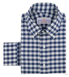 Luxire casual shirt constructed in Navy Royal Gingham On White Oxford: http://custom.luxire.com/products/navy-royal-oxford-gingham-on-white  Consists of button down collar and single button cuffs.