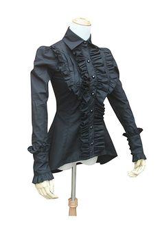 Victorian Gothic Pleated Black Cotton Women Blouse Shirt