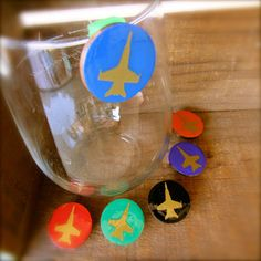 Jet Wine Charms Jet Glass Tags Aviation by SunflowerBlueDesigns