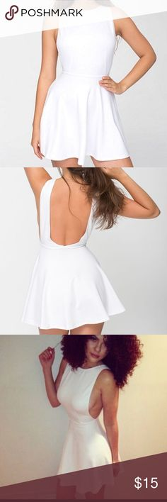 American apparel backless white skater dress  XS Reposh. American Apparel white skater dress in size XS. Features an open back with a flare skirt. American Apparel Dresses Mini